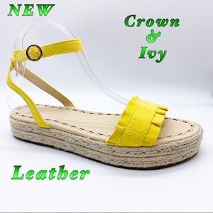 NEW-Crown & Ivy Leather Marigold Sandal 8